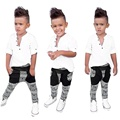 toddler boys clothing Cool boys 2016 Button Long Sleeve T-Shirt Tops+Printing Long Pants Outfits clothing set baby boy good
