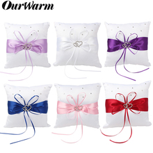OurWarm 20X20cm Diamond Wedding Pocket Ring Pillow Cushion Party Supplies Bridal Satin Double Heart Bowknot
