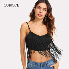 COLROVIE Tassel Embellished Crop Cami Top 2018 Summer Black Scoop Neck Fringe Tank Top Clothes Spaghetti Strap Women Camisole