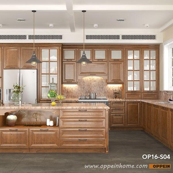 Modern Rural Red Oak Kitchen Cabinet  Kitchen Furniture  OP16-S04