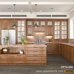 Современный Сельский красный дубовый кухонный шкафчик кухонная мебель OP16-S04