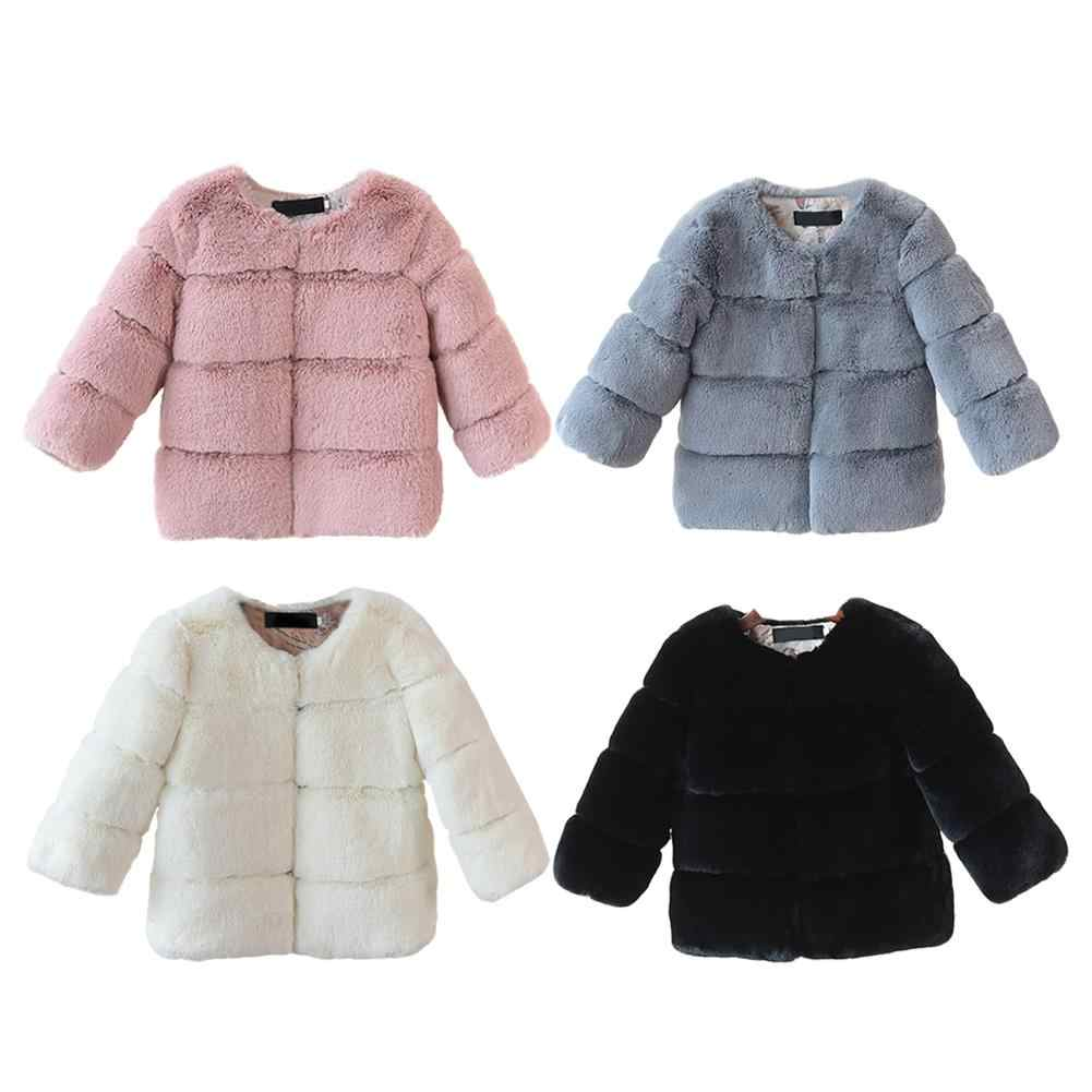 Children's Fall And Winter Artificial Fox Fur Coat Kids Girls Wear Jacket Baby Full Soft Heavyweight Four Color O-Neck Coat