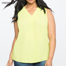 COCOEPPS Sleeveless Chiffon V neck women's top