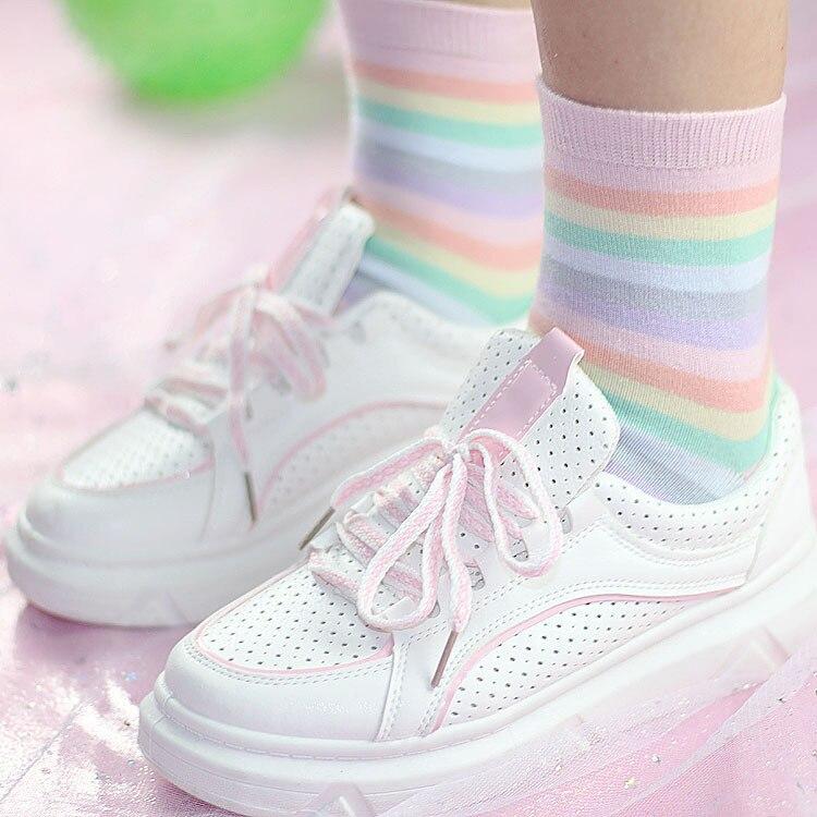 Summer Striped Macaroon Ice Cotton Cream Rainbow Women   Socks   Girls Cotton Casual Funny   Socks   Lovely Kawayi Student Novel Cotton