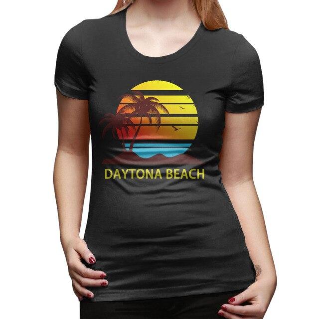 Daytona Beach T Shirts Women Short Sleeve Cotton Personality Woman Shirt Casual Palm And