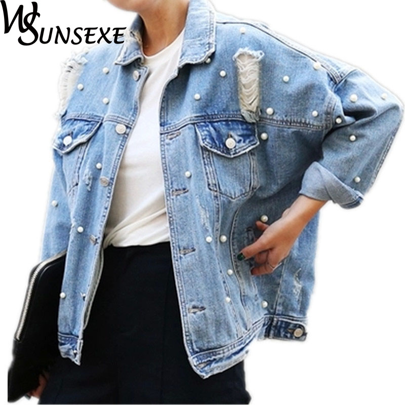Pearls Denim   Jackets   Women Light Blue Jeans Vintage Hole   Jacket     Basic     Jacket   Women's Autumn Windbreaker Beaded Loose Cowboy Wear