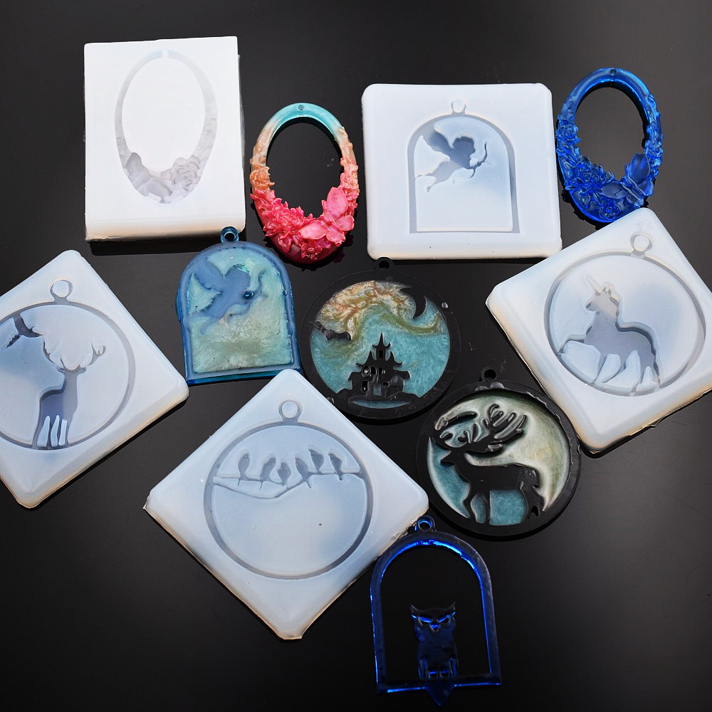 SNASAN Silicone Mold For Jewelry Frame Animals Pendant Resin Silicone Mould  Handmade  Epoxy Resin Molds MuJu-diaozhui-004