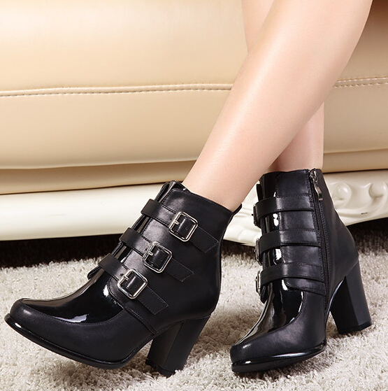 Autumn Winter Women Thick High Heel Buckle Round Toe Side Zipper Fashion Ankle Martin Boots Size 31-40 SXQ0905 fashion winter women martin boots round