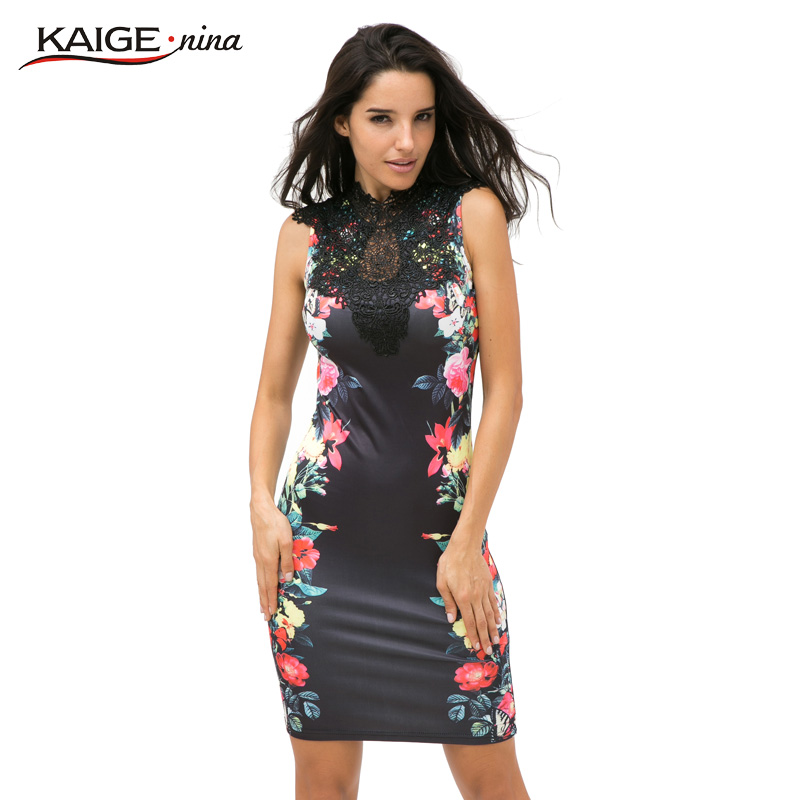 Tropical Floral Print Mesh New Fashion Vestidos Hot Sale Women Striped Patchwork Sheath stand Sleeveless summer Dress 2239