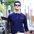 Мужская хлопок polo рубашки с длинным рукавом 2017 весенняя мода рубашки верхней мужчины polo отложным воротником 4 цвета