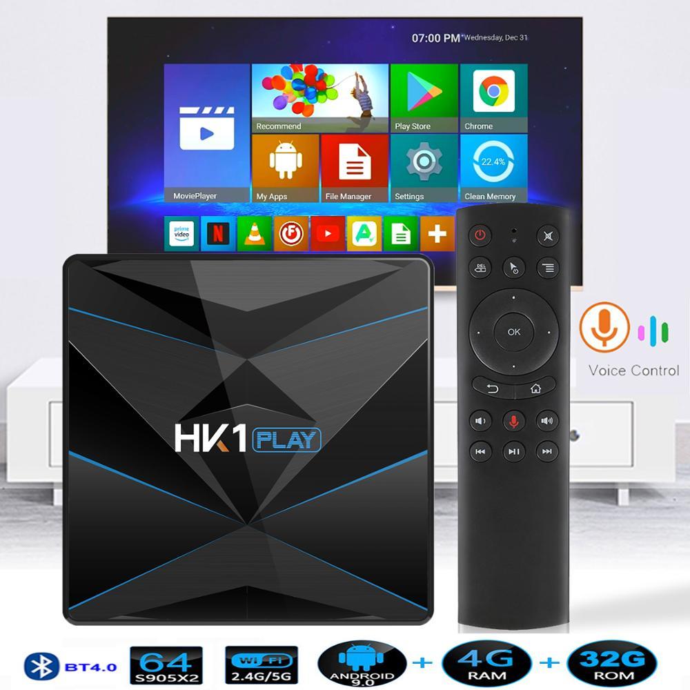 HK1 play Smart TV BOX 4 K 3D Android 9.0 Amlogic S905X2 Quad Core ARM Google Player 4G 64G 2.4G/5G Wifi décodeur TV récepteur