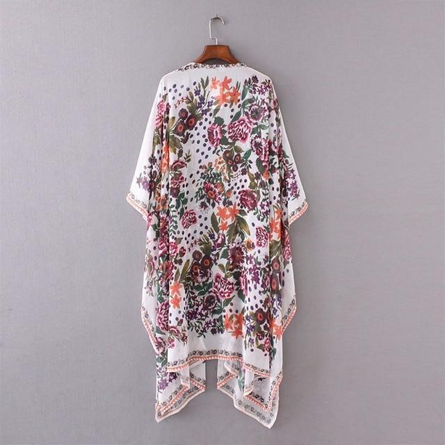 Japanese Kimono robe Cardigan Women Fashion Chiffon Street Casual Wear Floral Print Cover Up Beach Long Blouse v neck bat shirts 3