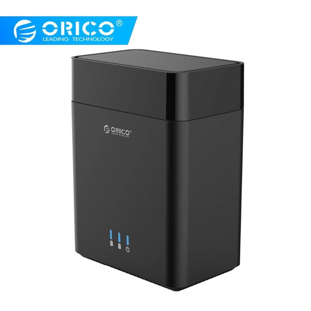 Boîtier de disque dur ORICO 2 baies de type magnétique 3.5 pouces USB3.0 à SATA3.0 3.5 dans le boîtier HDD Support UASP 12V6. 5A puissance MAX 20 to