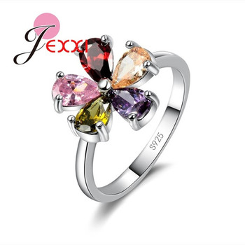 Beautiful Flower Shape Colorful Crystal 925 Sterling Silver Women Wedding Engagement Rings Fashion Party Finger Jewelry