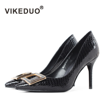 Vikeduo 2018 Sapato Feminino Dames Schoenen Original Pointed Toe Skin Luxury Fashion Party Genuine Women Thin High Heels Shoes