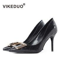 Vikeduo 2018 sapato feminino dames schoenen оригинальный острый носок кожи роскошные модные вечерние из натуральной кожи женские туфли на высоком тонком каблу