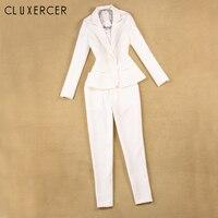 Women Suits Office Sets 2018 Elegant White business female suit Two piece set Long sleeve Jackt+ pantsuit Outfits tailleur femme