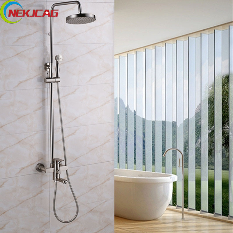 Wholesale And Retail Brushed Bathroom Rainfall Shower Head Set Top Shower Faucet +Handle Shower