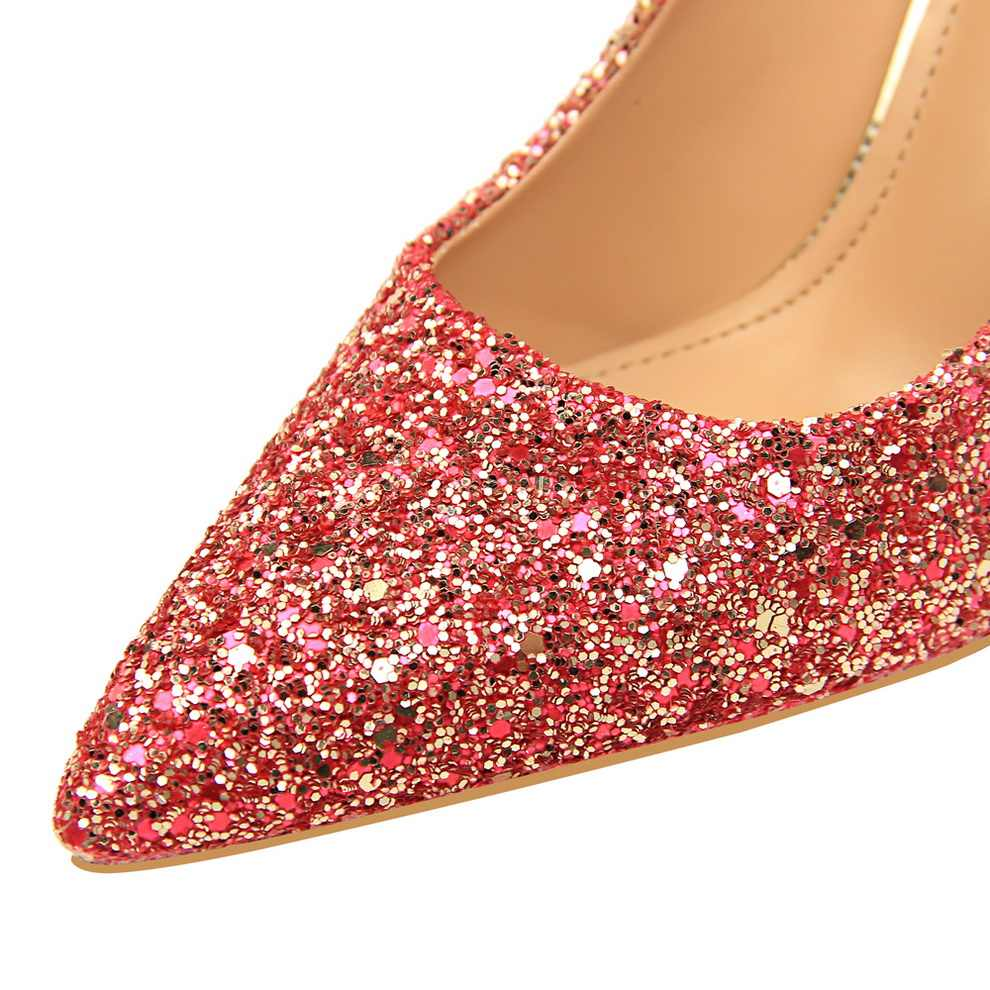 636e3dcd7 ... Glitter Sexy High Heels For Women Cheap Prices Rose Gold Pumps  Shimmering Golden Glitter Shoes Pull ...