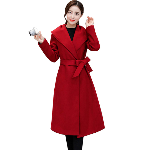Women Slim Wool Overcoat Outwear Single Button Belt Maxi Long Dress