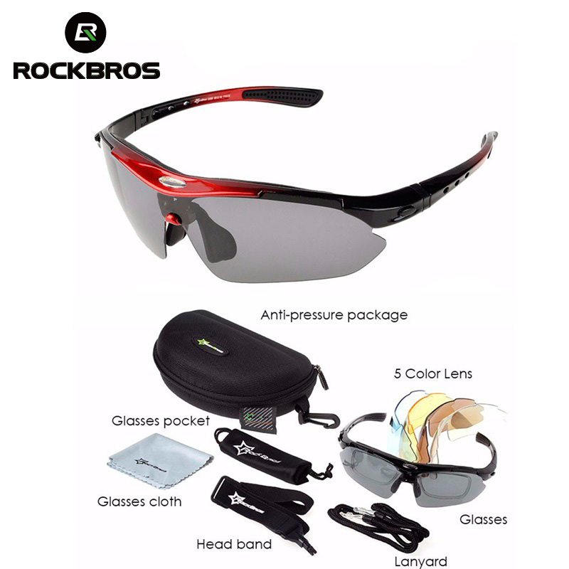 ROCBRORS Cycling Polarized Glasses Sunglasses Goggles Men UV400 5 Lens With Myopia Frame Outdoor Sports Glasses 9 Colors oreka 2140 outdoor sports uv400 protection blue revo lens polarized sunglasses black
