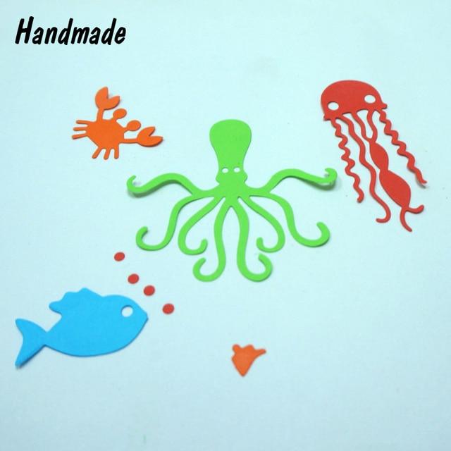 Metal Cutting Dies Octopus Fish Crab Seaweed Stencils for Scrapbook ...