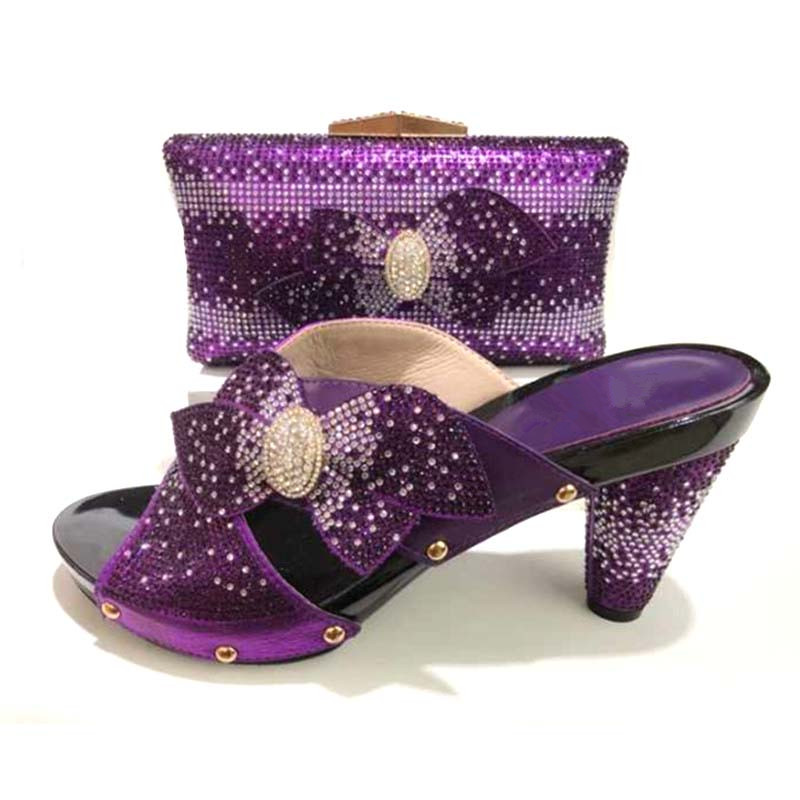 цены Purple Italian Shoes With Matching Bags High Quality Shoes And Bag Set African Sets 2018 Ladies Shoes With Matching Bags Set
