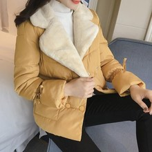 New Autumn Winter Short Coat 2017 Women Turn Down Collar Double Breast Button Thick Cotton Padded Jacket