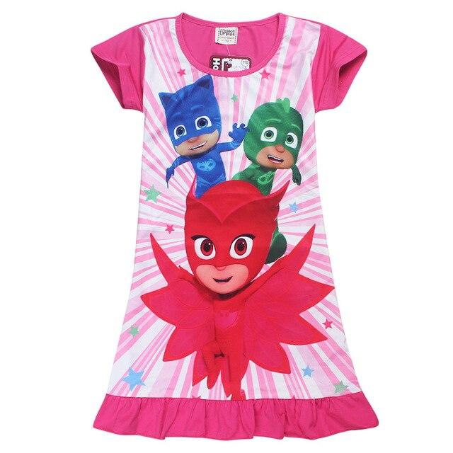 b8c7e21ea pj masks Girls Dresses 3-8 Years Kids Cotton Short Sleeve Girls 2017 Summer  Child Dress Clothing Baby Toddler Girls Vestidos