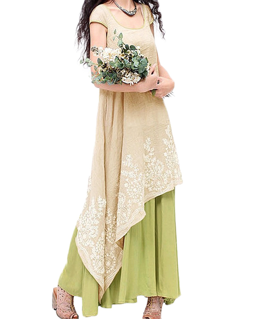Floral Embroidery Casual Maxi Dress Women Vintage O Neck Two Layers Long Beach Dress