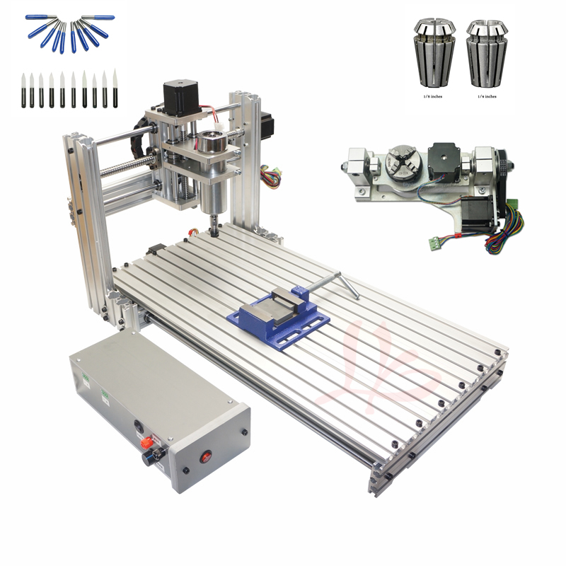 4 axis cnc 3040 2200w spindle 3 axis metal engraving machine er20 collet wood router with limit switch and free cutter 5 axis wood router engraving machine DIY cnc 6020 metal drilling milling with free cutter er11 collet