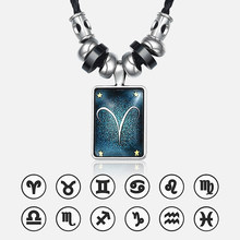 12 Constellations Leather Necklace For Men Aries Zodiac Pendant Stainless Steel Charm Necklaces Male Jewelry Dropshpping UNM36(Hong Kong,China)