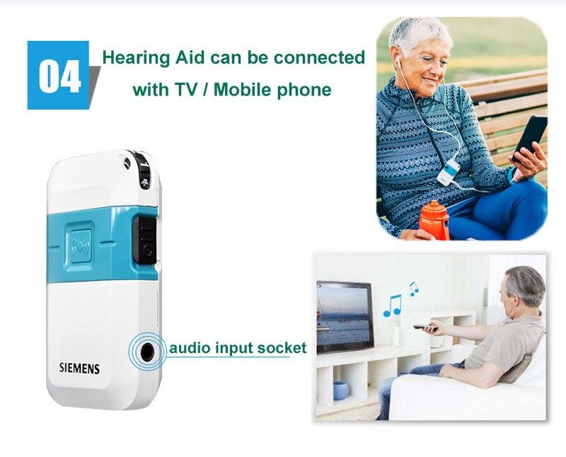 pocket hearing aid with audio input socket