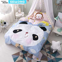Çin panda maymun yatak takımları ikiz boyutları 100% pamuk prenses nevresim kapak 3d yatak çarşafları 3/4 pc levha tek yatak çocuk kız dekor