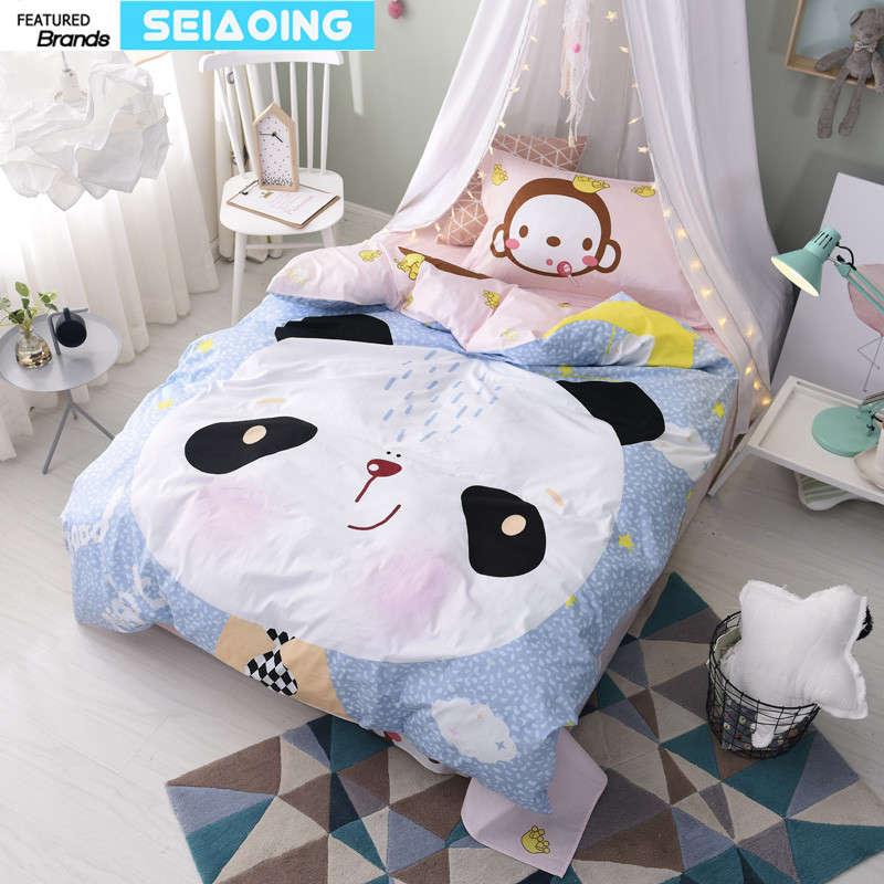 China Panda Monkey Bedding Sets Twin Sizes 100 Cotton