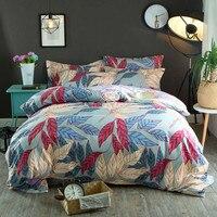 סט מיטת סט מצעים פרחוני בסגנון פסטורלי עלים הדפסה גבוהה גיליון שטוח 2 משובץ שמיכה כיסוי סט מלכת כותנה באיכות ציפות