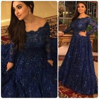 Navy Blue Sequin Robe Longue Blue Custom Long Sleeve Elegant Plus Evening prom Gown 2018 lace Mother of the Bride Dresses