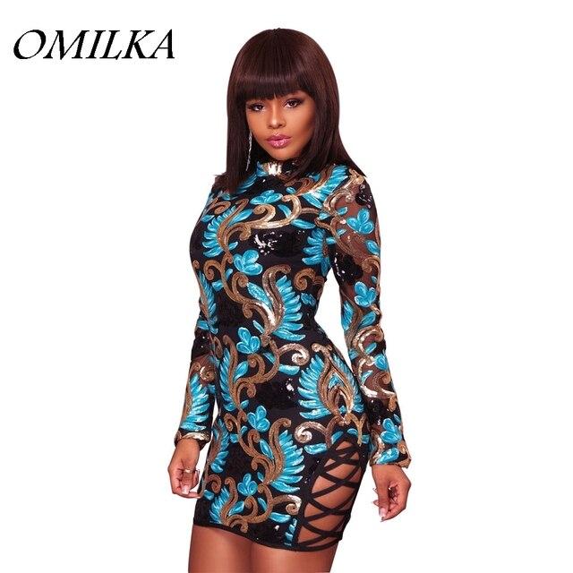 OMILKA 2017 Autumn Women Long Sleeve O Neck Sequin Bodycon Dress Sexy Shiny  Glitter Night Club Party Mini Sequined Dress 5fe067c84b7a