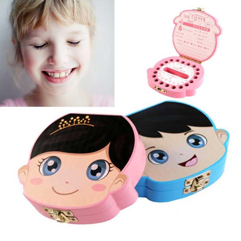 1Pc Baby Tooth Box Wooden Milk Teeth Organizer Storage Boys Girls Save Souvenir Case Gift Creative Baby Tooth Organizer For Kids