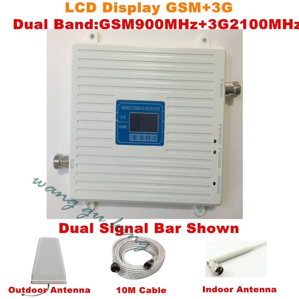 Amplificateur de Signal cellulaire GSM 3G double bande LCD GSM 900 mhz 3G UMTS 2100 mhz amplificateur Mobile WCDMA 2100 répéteur Extender + antenne