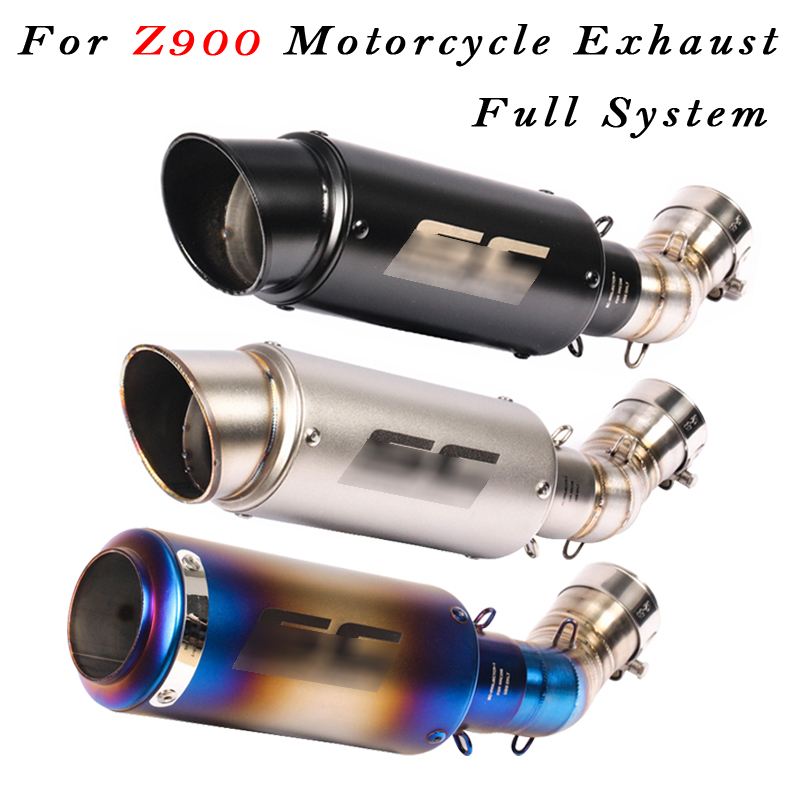51mm Slip On For Kawasaki Z900 2017 2018 Motorcycle Laser Marker Exhaust Escape Modified With Conncetion Link Pipe Full System in Exhaust Exhaust Systems from Automobiles Motorcycles