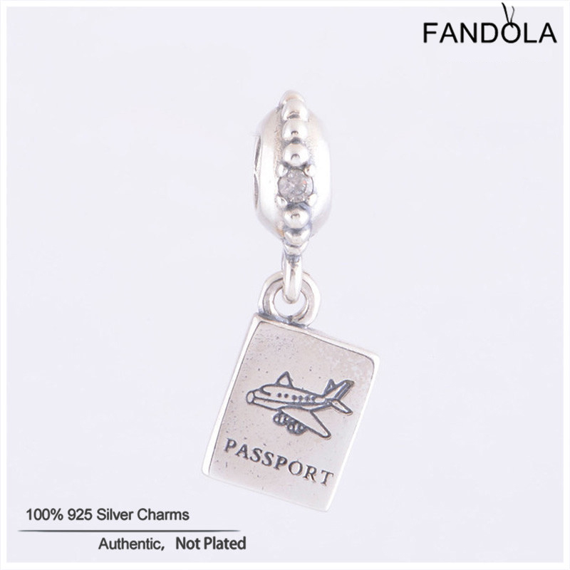 Authentic Silver 925 Jewelry Fits Pandora Charms Bracelet Sterling Silver Passport Dangle Beads for Jewelry Making Berloque
