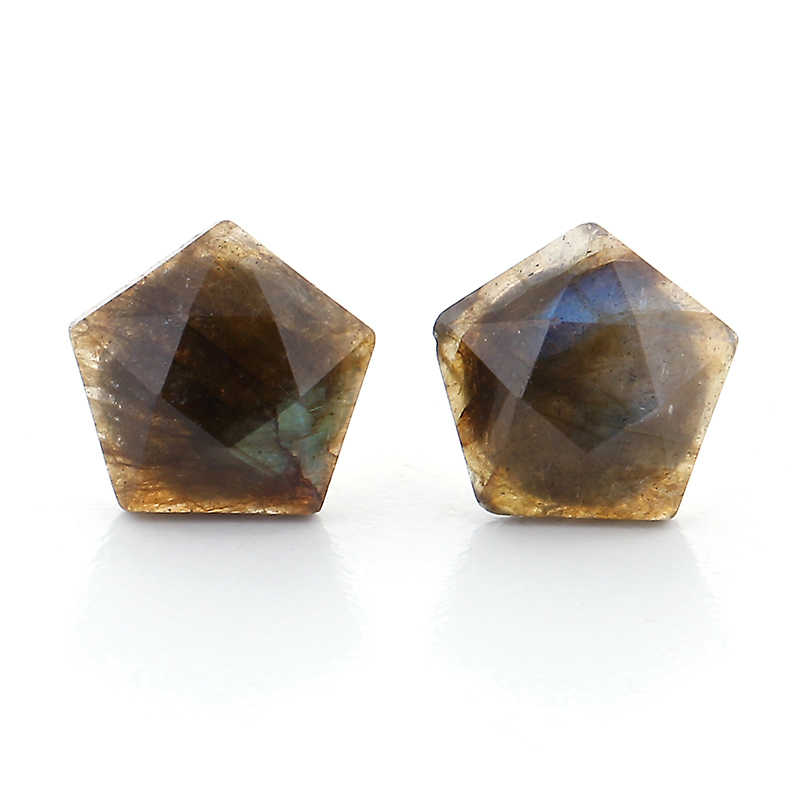 Classic 925 Sterling Silver Stud Earrings Natural Labradorite Star Earrings Vintage Retro Faceted Gem Stone Earrings For Women