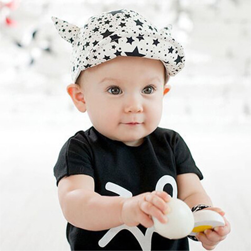 e907306aa39 Small Baby Flanging Sync New Babies Hat And Peaked Cap Hat Devil Boy   Girl  Baseball Caps Visor Sun Hats BB0106-in Hats   Caps from Mother   Kids on ...