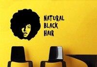 Salon kosmetyczny Natural Black African Kobieta Hair Style Dziewczyna Mural Vinyl Kalkomania Ścienna Naklejka Ścienna Salon Fryzjerski Sypialnia Urządzanie Wnętrz