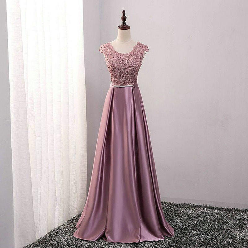 Beauty Emily Dark Pink Evening Dresses 2019 Lace A-line Floor-Length Formal Party Prom Dresses Reflective Dress
