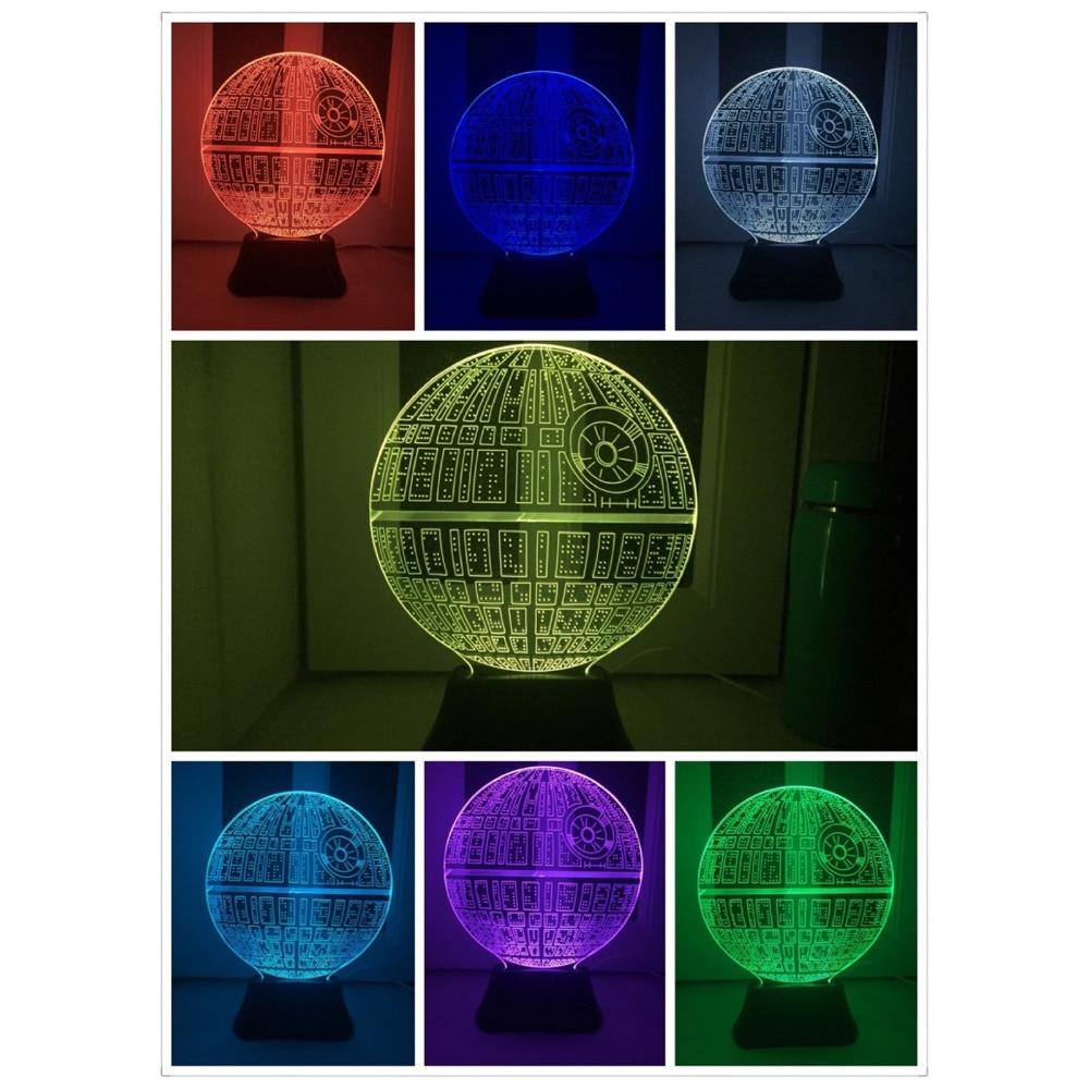 2017 Force Awakens Multi colored Death Star Table Lamp 3D Death Star font b Bulbing b