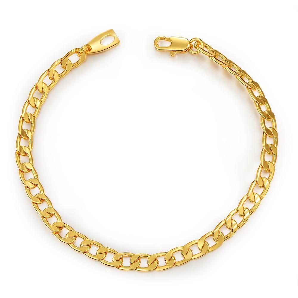 2017 New Nakelulu Bracelet Hiphop Men Jewelry Gold Color Stainless Steel 21  Cm 5 Mm Cuban Curb Chain Bracelet Wholesale