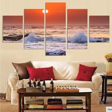 Unframed 5 Pieces Wall Art Sunrise From Beach Seaview Painting On Canvas Sea Wave Landscape Oil By Numbers
