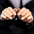 New 24pcs/Pack Japanese Style False Nail Tips Set Short Glitter Fake Nail Art Manicure Tool Glue With Black Spot